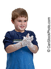 Sensory - Young boy getting messy from playing with shaving...