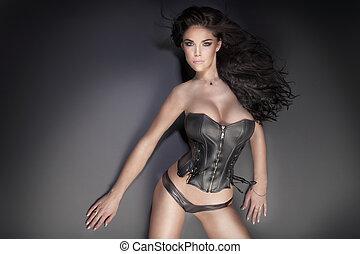 sensual, ブルネット, 女