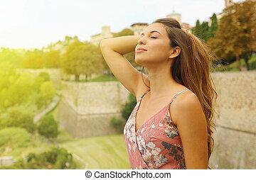 sensual, 呼吸する, 女, outdoor., ファッション, 優雅である