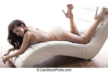 sensual, 女性, 身に着けていること, セクシーなランジェリー