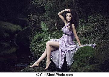 sensual, 景色, 自然, 女