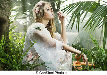 sensual, 若い婦人, の中, ∥, 草木の栽培場