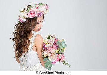 sensual, 魅力的, 女, ∥で∥, 長い間, 巻き毛, 美しい, 毛, 中に, 花輪