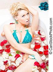 sensual beautiful seductive blond woman in turquoise...