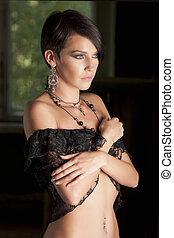 Sensual beautiful woman in lingerie posing