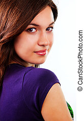 Sensual beautiful young woman with clean skin