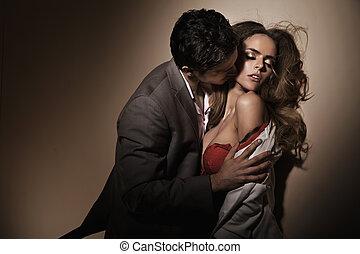 sensual, beijos, ligado, a, delicado, pescoço