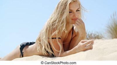 Sensual Blond Female Model on the Beach