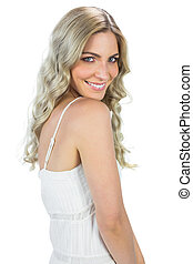 Sensual blond woman smiling