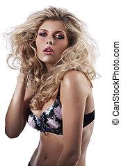 sensual blonde girl on white