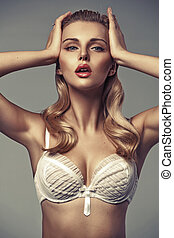 Sensual blonde lady with tempting lips - Sensual blonde...