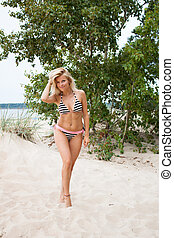 Sensual blonde woman in bikini