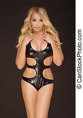 Sensual blonde woman in lingerie.