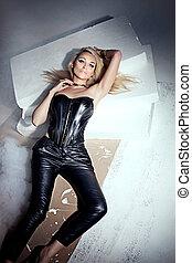 Sensual blonde woman posing