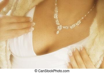 Sensual bride - Bride wears furs and diamonds