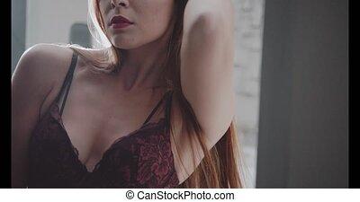 Sensual brunette beauty in bedroom - Sensual beautiful...