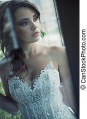 Sensual brunette bride with perfect body - Sensual brunette...