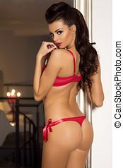 Sensual brunette posing in lingerie. - Sexy brunette woman...