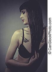 Sensual brunette woman in lingerie