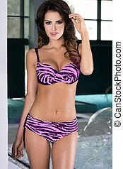 Sensual brunette woman in sexy lingerie. - Sensual brunette...
