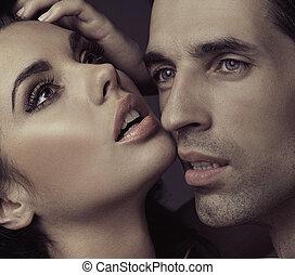 sensual, casamento, par, em, romanticos, pose