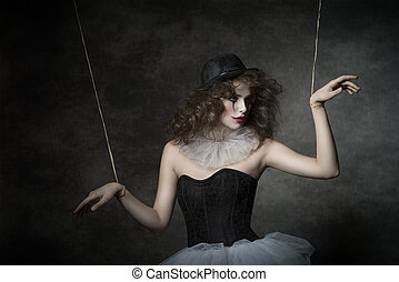 sensual clown puppet female - uncombed sensual woman with...