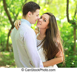 Sensual couple in love, kiss