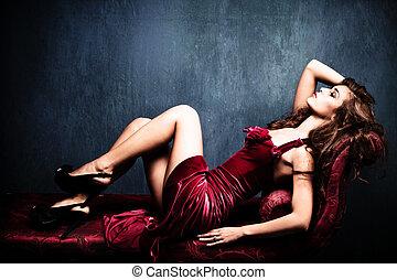 sensual elegant woman - elegant sensual young woman in red...