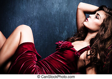 sensual elegant woman - elegant sensual young woman in red...