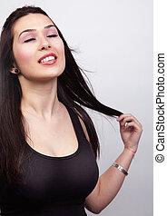 sensual, excitado, mulher, com, cabelo escuro longo
