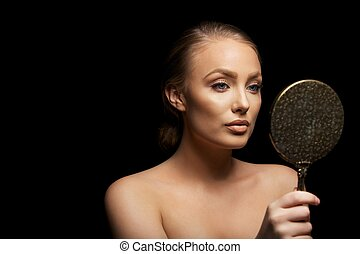 woman holding hand mirror. Sensual Female Model Looking In Make Up Mirror Woman Holding Hand W