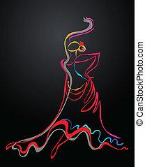 Sensual Flamenco dancer outline