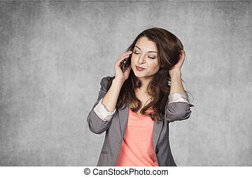 sensual gesture during a telephone conversation