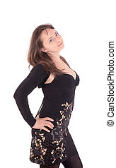sensual girl in a black dress