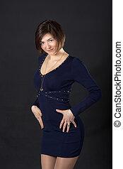 girl in a dark blue dress