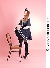 sensual girl in a dress