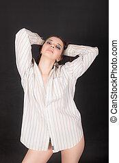 sensual girl in a white shirt
