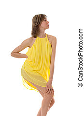 sensual girl in a yellow dress