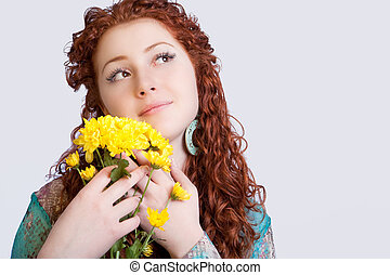 sensual girl with flowers