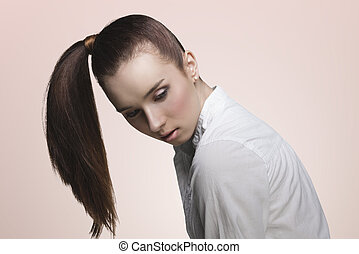 sensual girl with ponytail