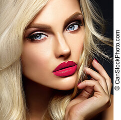sensual glamour portrait of beautiful blond woman model lady with bright makeup and pink lips , with healthy curly hair on black background