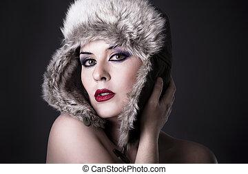 sensual, hermoso, invierno, woman., perfecto, mujer joven, con, rojo, lips.