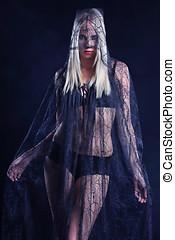 Sensual lace masked woman