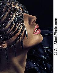 Sensual lady wearing chain mask