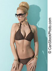 sensual lady with bikini and sunglasses - sexy blonde in...