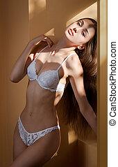Sensual lingerie brunette.
