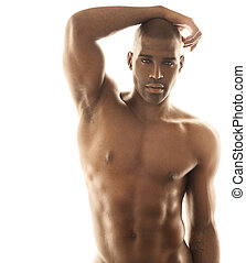Sensual male model - Sensual fashion portrait of a fit nude...