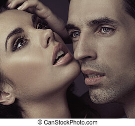 sensual, matrimonio, pareja, en, romántico, postura