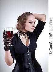 sensual, mujer joven, con, vino rojo