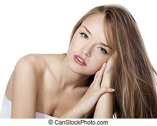 sensual, mujer, modelo, con, derecho, largo, pelo rubio, encima, blanco